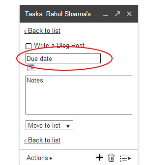 Gmail Tasks - List Details
