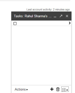 Gmail Tasks - List Popup BLANK