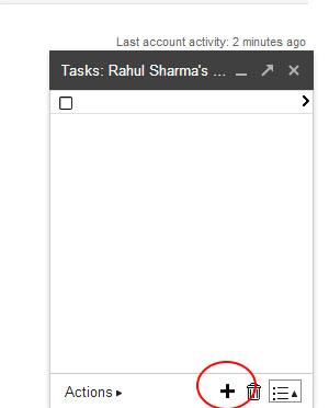 Gmail Tasks - List Popup