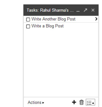 Gmail Tasks - List Write Tasks