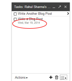 Gmail Tasks - Task Date