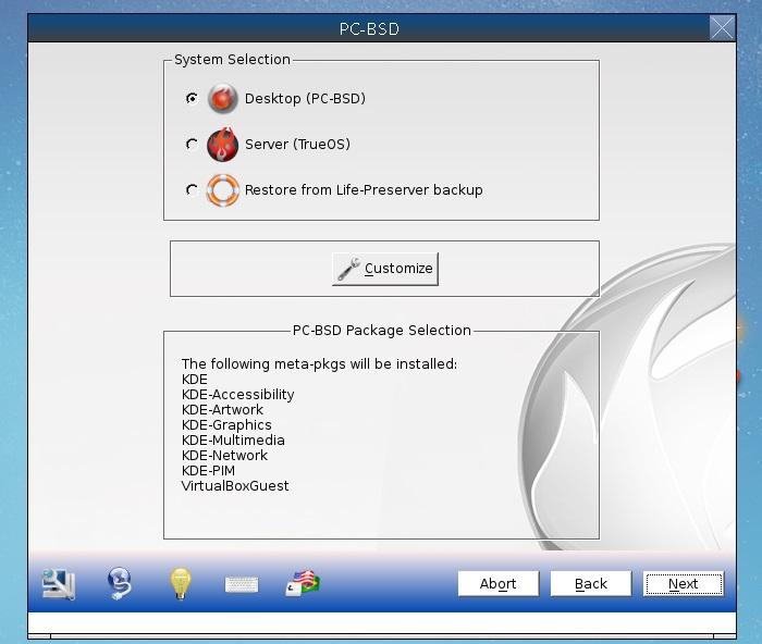 PC-BSD install process