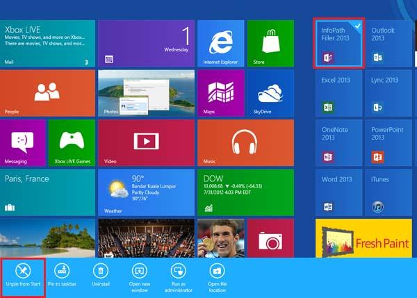 Remove Pre-installed Programs Windows 8 - Unpin app
