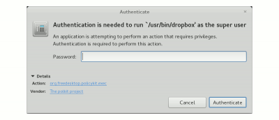 """Fixing """"Authentication is needed to run /usr/bin/dropbox as the super user"""" Issue In Ubuntu"""