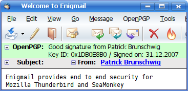 Security addons for Thunderbird - enigmail