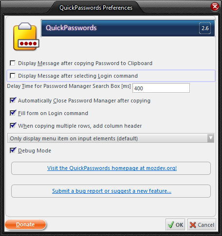 Security addons for Thunderbird - quickpasswords