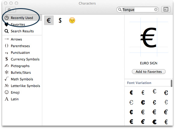 Enable-Character-Viewer-OSX-Recently-Used