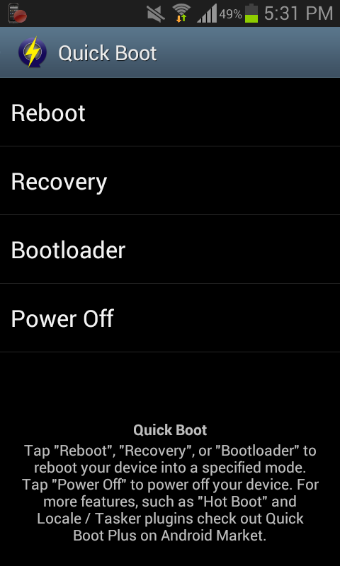 flash a custom rom on Android - quickboot