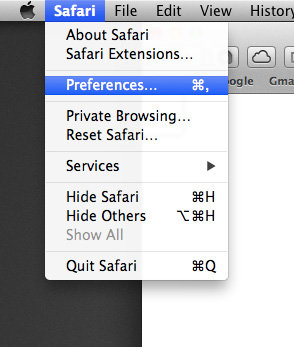 how to open safari preferences