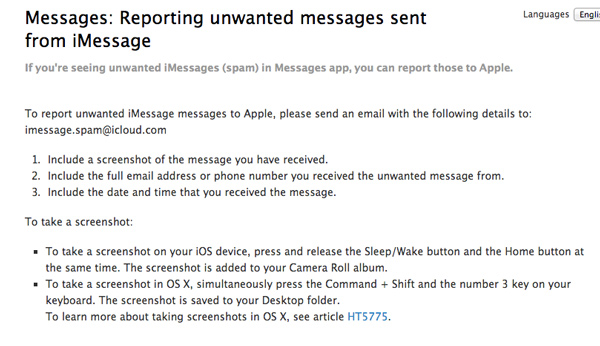 Report-Spam-iMessage-Apple-Site