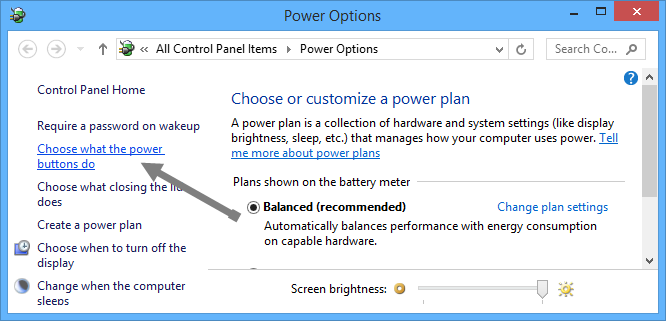 free-disk-space-power-options
