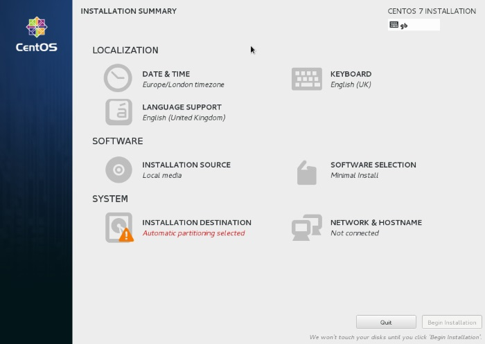 CentOS 7-install-summary