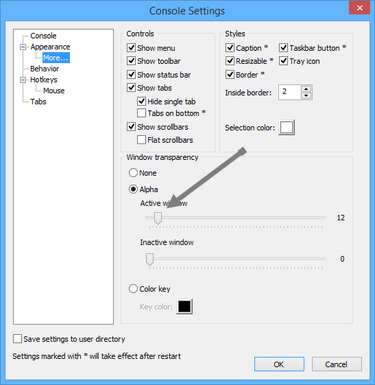 console2-transparency-settings