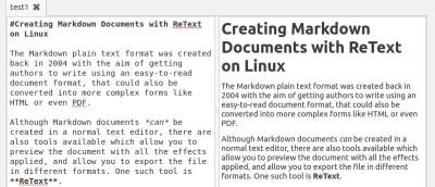 Creating Markdown Documents with ReText on Linux