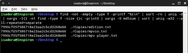 duplicates-find-command