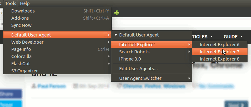 Change the User Agents in Firefox, Chrome and IE