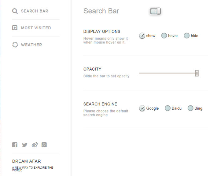 new-tab-extensions-dream-afar-settings