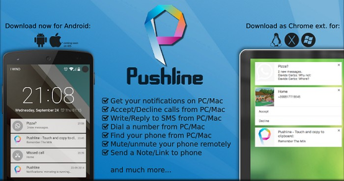 Get Android notifications on desktop with Pushline App.