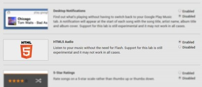 Enable HTML5 Playback in Google Play Music