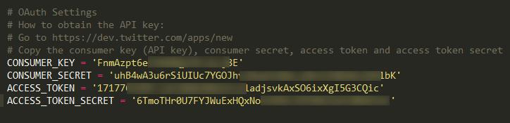 tinfoleak-add-oauth-keys