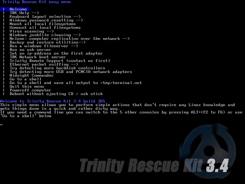 Trinity Rescue Kit: CPR for your computer.