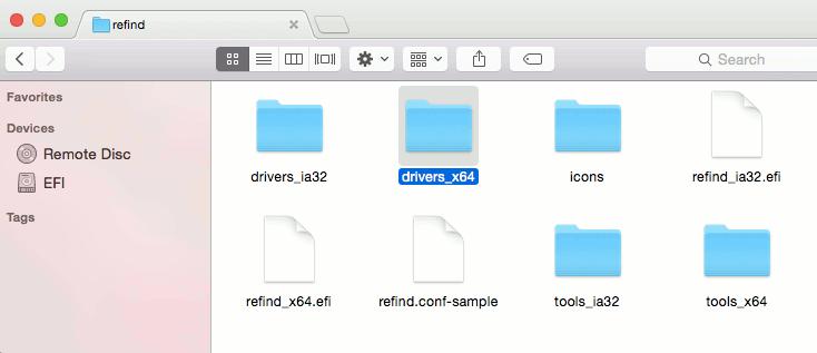 yosemite-refind-move-drivers-x64-folder