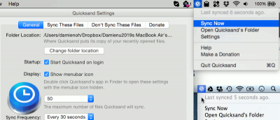 Quicksand: Sync Your Recently Opened Files Automatically [Mac]