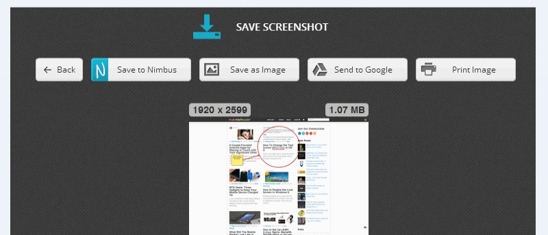 Take Full Webpage Screenshots with Nimbus Screenshot