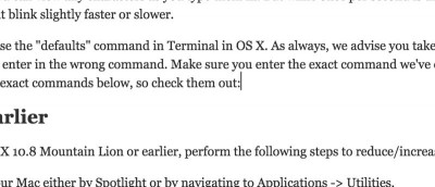 How To Change the Text Cursor Blink Rate in OS X