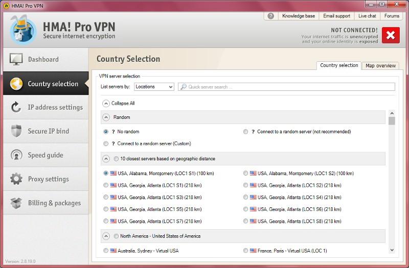 HideMyAss for Windows server selection.