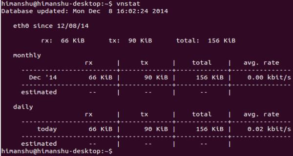 vnstat-default-output-first-time