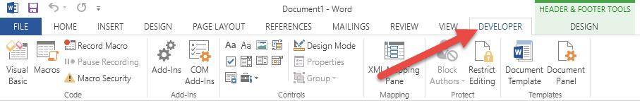 word-developer-tab