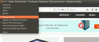 "How to Set a Keyboard Shortcut for ""Always on Top"" In Ubuntu"