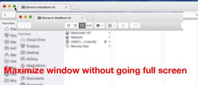 Maximize Windows without Going Full Screen in Mac Yosemite