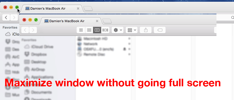 Maximize Windows without Going Full Screen in Mac Yosemite