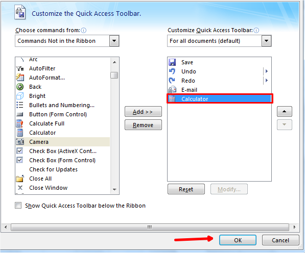 Calculator add to auick access toolbar