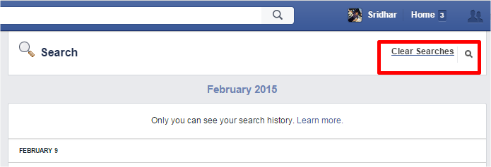 Clear Searches in Facebook