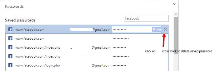 Delete Saved Password in Google Chrome