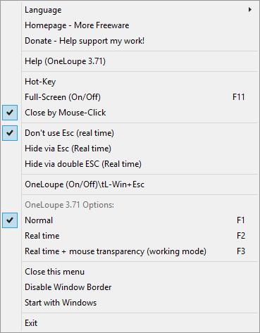 OneLoupe options.