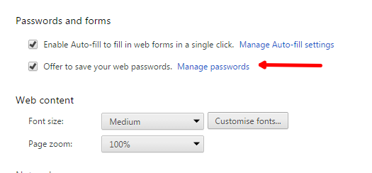Manage Saved Passwords in Google Chrome
