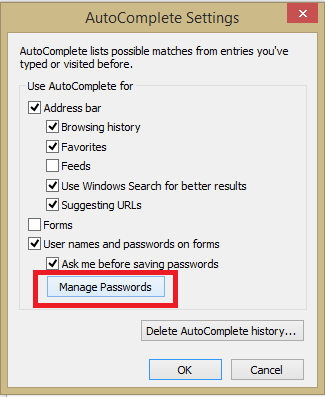 Manage Saved Passwords in Internet Explorer