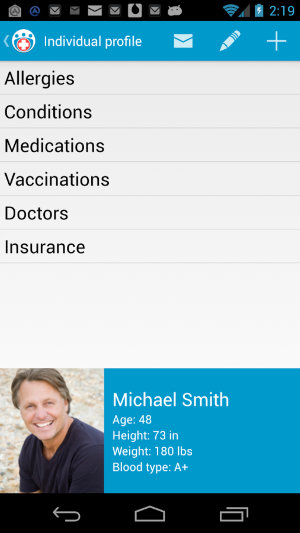 Family Medical Info Android App