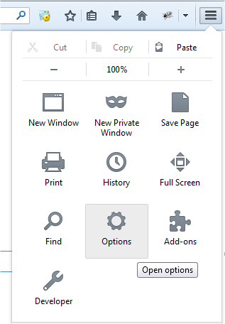 Options in Mozilla Firefox