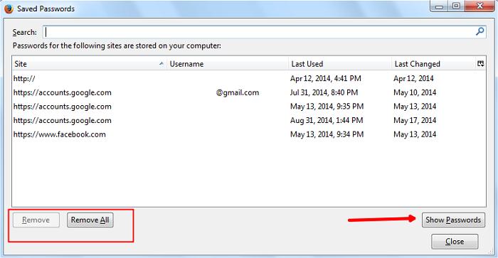 Remove Svaed Passwords in Mozilla Firefox