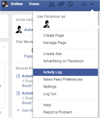 Search History on Facebook_Activity Log