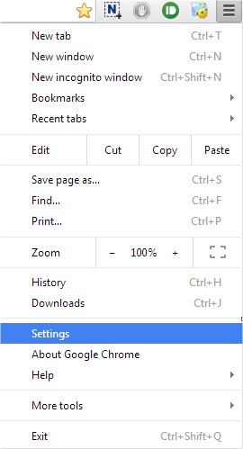 Settings in Google Chrome