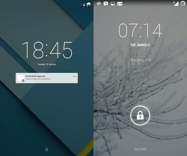 Lollipop vs Kitkat - Lockscreen