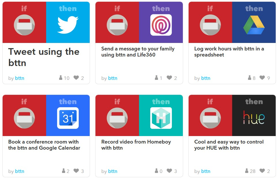 Popular IFTTT recipes for the Bttn channel.