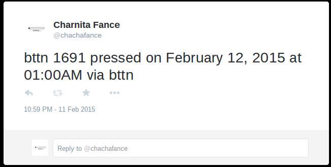 A tweet sent out via the Bttn and IFTTT.