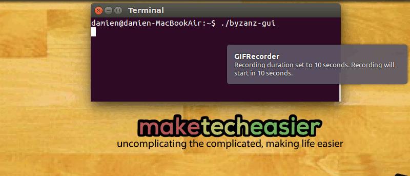Record Screen as Animated GIF in Ubuntu with Byzanz - Make